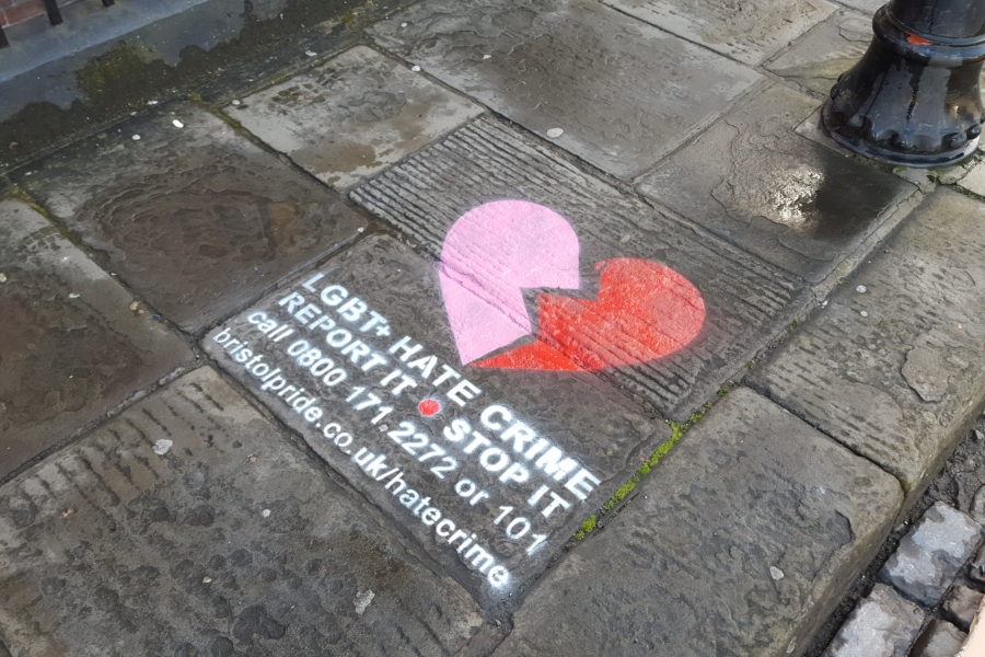 LGBT Hate Crime Stencil On Street