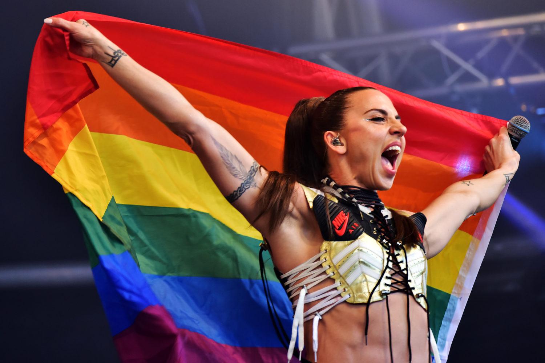 Mel C with Rainbow Flag at Bristol Pride Credit Dan Regan