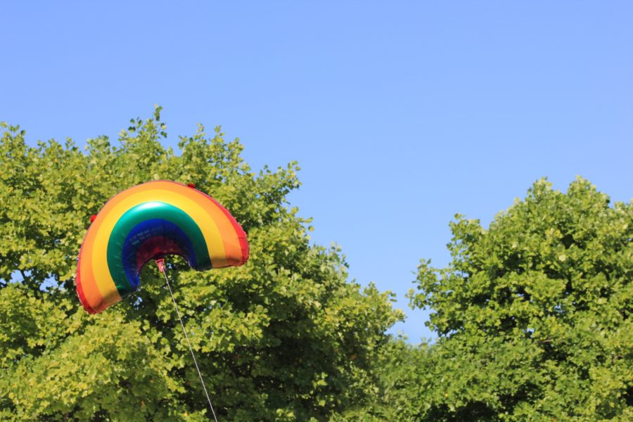 Rainbow balloon floating infront of two leafy green trees and a blue sky.