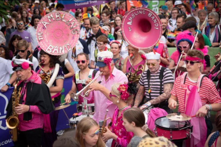 The Ambling Band performing at Bristol Pride