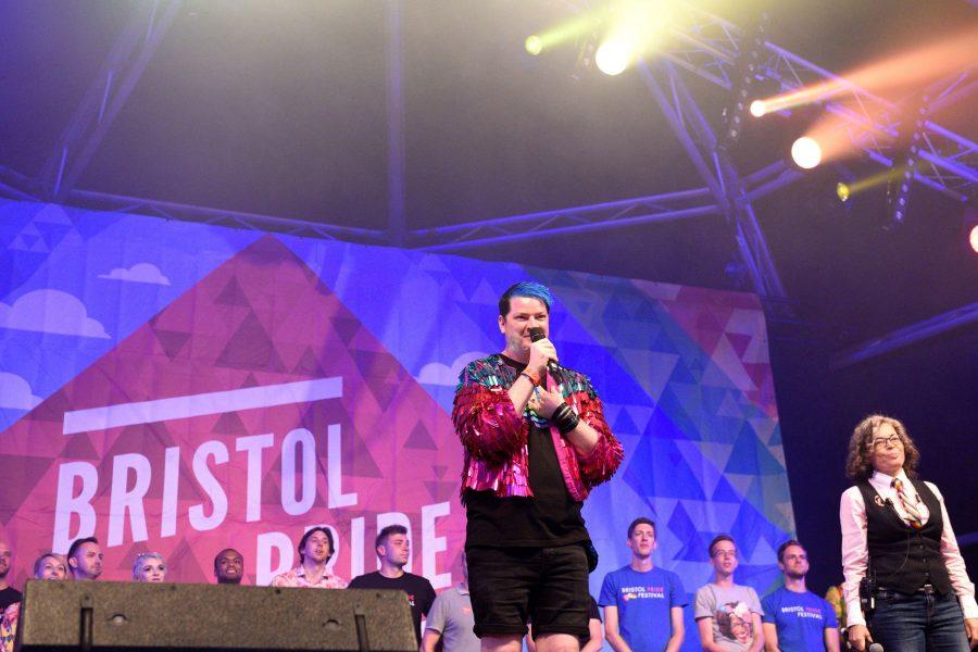 Daryn on stage at Bristol Pride
